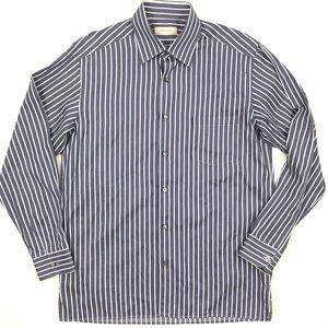 Ermenegildo Zegna blue striped button down shirt